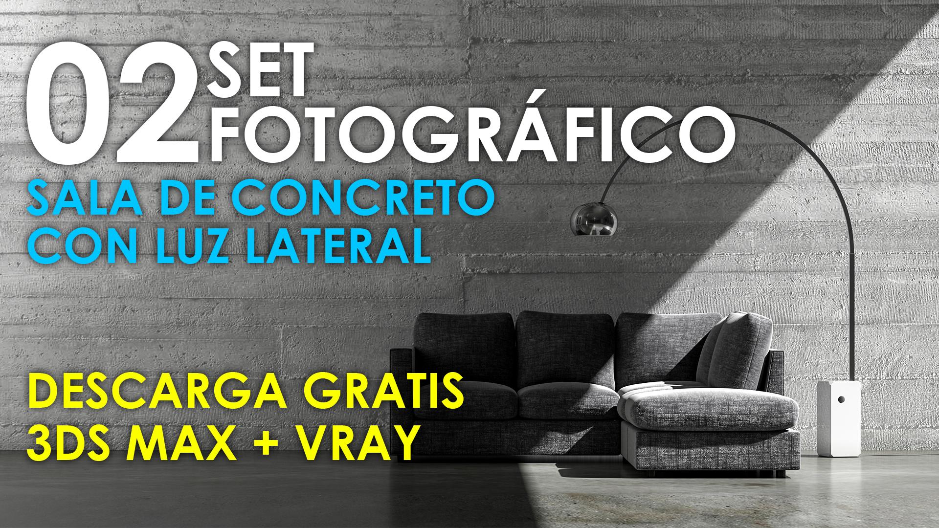 Set de iluminación y fotografía 02 - Sala de concreto con luz lateral